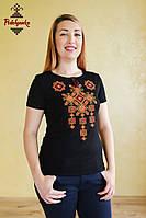 Жіноча вишита футболка Писанка золота