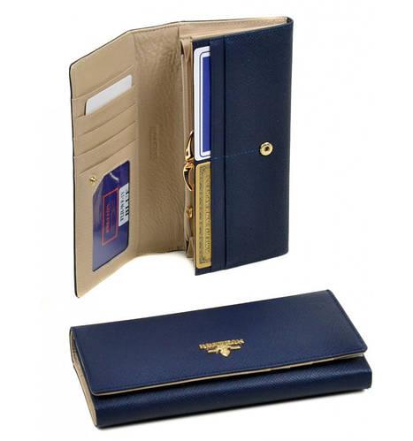 Женский синий кожаный кошелек Bretton WF-1V blue