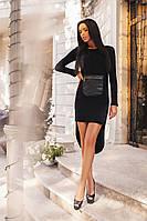 Женское платье с карманом из эко кожи спереди