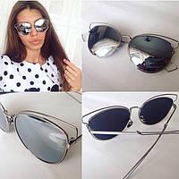 """Очки женские солнцезащитные зеркальные """"Dior кошка"""""""