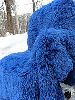 Покрывало травка 220*240 плед (искусственный мех) синие