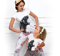 "Футболки для двоих с карманом ""Family Look  BiBi Panther""; 4, 5, 6, 7-8, 9-10, 11-12, 13-14 лет"