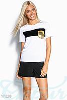 Шикарный летний женский спортивный костюм с шортами и футболкой со вставками из пайеток креп софт