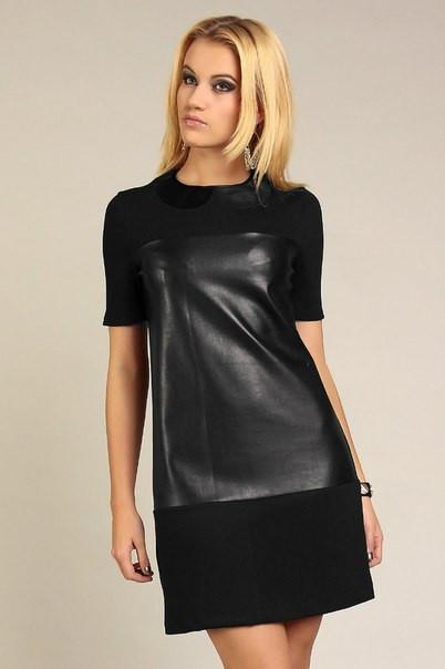 Платья с кожаными вставками