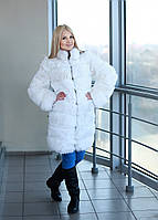 """Белая шуба из кролика """"Снежана"""" в 48 размере"""