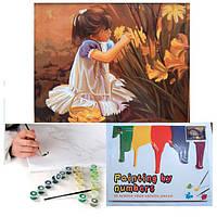 Картина для росписи по номерам Девочка и цветы 40*50 см