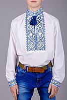 Вышитая сорочка с украинской символикой в желто-голубых тонах
