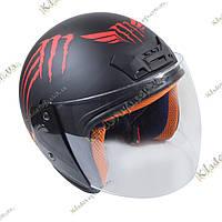 Мото шлем Monster Energy (Red) Котелок, Круизер, Чоппер, полулицевик
