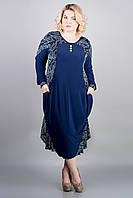 Красивое платье Берта (синие цветы) ниже колен большого размера 54-64 батал