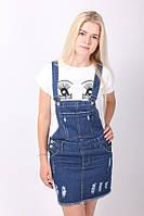 Молодежный женский джинсовый комбинезон