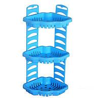 Полка пластиковая для ванны угловая Тюльпан 3 уровня Голубая KN-062