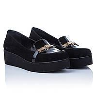 Туфли на толстой платформе Liliya (удобные, замшевые, стильные, практичные, с изысканным декором)