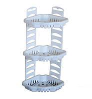 Полка пластиковая для ванны угловая Тюльпан 3 уровня Белая KN-062-1