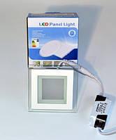 LED PANEL LIGHT 6W Glass Rim Square Точечный светодиодный светильник квадрат