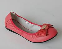 Туфли балетки для девочек коралловые с бантом р.30-37, красивая школьная обувь для девочек