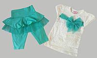 Летний костюм для девочек от 2 до 5 лет, бирюзовый
