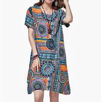 Свободное платье с коротким рукавом