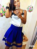 Стильная синяя юбка колокольчик с высокой талией и вставкой сетка
