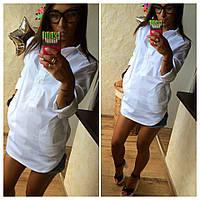 Стильная белая ,модная рубашка с карманами по бокам