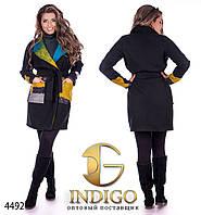 """Пальто женское из кашемира больших размеров """"Шерстяные вставки"""""""