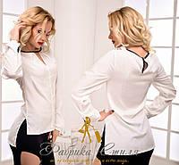 Элегантная креп-шифоновая белая женская блуза