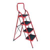 Лестница-стремянка 4 ступени металлическая 380*260мм высота 1390мм INTERTOOL LT-0034