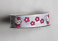 Лента репсовая 25мм Marill Hello Kitty белая