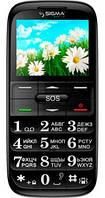 """Удобный и надежный бабушкофон Sigma Comfort 50 Slim black, моноблок, 2 симки, дисплей 2,2"""""""