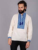 Вышиванка мужская с геометрическим узором лен синяя