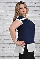 Женская летняя блуза-туника больших размеров (рр 42-74) синяя, разные цвета