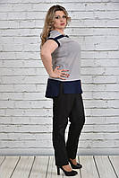 Женская летняя блуза-туника больших размеров (рр 42-74) серая, разные цвета