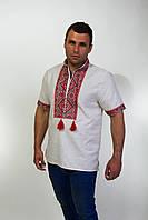 Вышиванка мужская с коротким рукавом лён вышивка красная