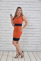 Стильное женское оранжевое платье больших размеров (рр 42-74), разные цвета