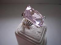Авторское  серебряное кольцо с розовым топазом 17 размера