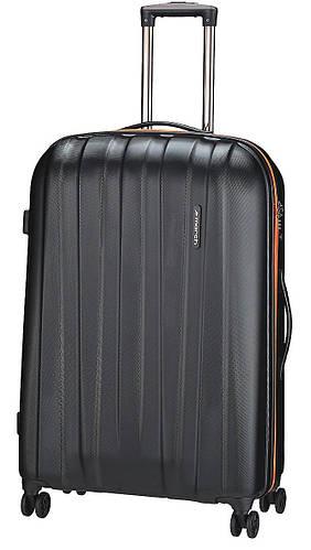 Качественный 4-колесный большой чемодан, пластиковый 108 л. MARCH Rocky 3651/17 черный/оранжевый
