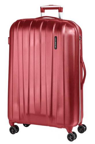 Яркий функциональный 4-колесный пластиковый чемодан 108 л. MARCH Rocky 3651/82 красный/серый
