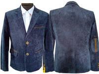 Пиджак для мальчика  вельвет синий 116-152