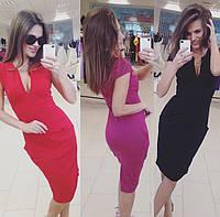 Женское модное трикотажное платье по фигуре (7 цветов)