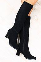 Замшевые сапоги на устойчивом каблуке, зима