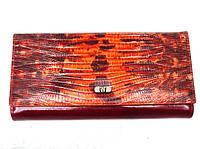 Женский кошелек Wanlima 1342 оранжевый застежка автомат натуральная кожа