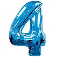 Фольгированная голубая цифра 4 - 100 см. (гелиевая) гелиевые шары, шары воздушные