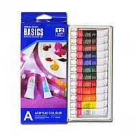 Краски 12 мл BASICS, 12 цветов «Acrylie»