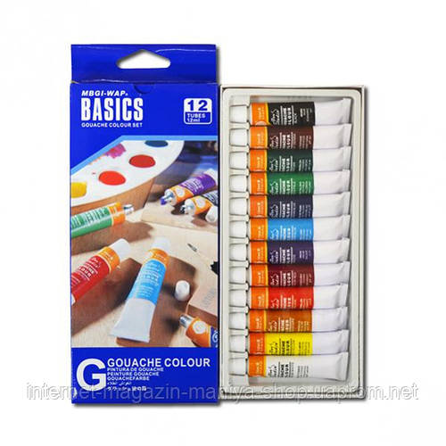 Краски 12 мл BASICS, 12 цветов «Gouache» , «Water»