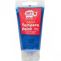 Краска темперная с блестками 75 мл, синяя