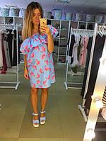 Платье  голубое с открытыми плечами принт розовый фламинго