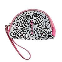 """Творчество и рукоделие «Color Me Mine» (6372200) сумочка-кошелёк """"Алмазный блеск"""" в форме полумесяца с рисунком """"Бабочка"""", 3 маркера, 10 см"""