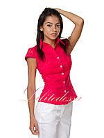 Рубашка с гипюром красная