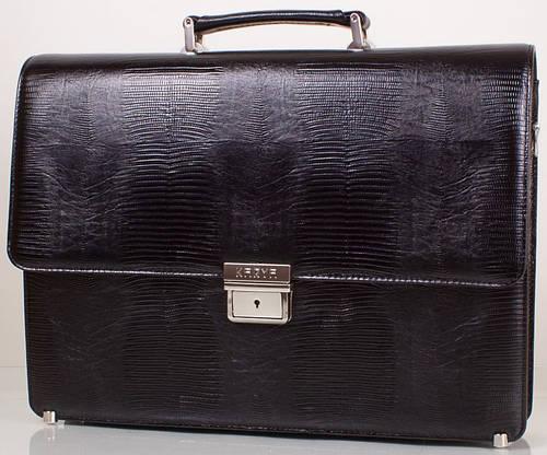 Удобный мужской портфель из натуральной кожи KARYA (КАРИЯ) SHI0611-2LAZ, черный