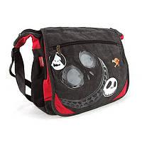Большая текстильная сумка наплечная темно-серая