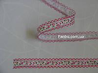 """Лента с рисунком """"тюльпаны"""",цвет малиновый(ширина 2.7 см)"""